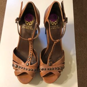 Vince Camuto Brown Leather Studded Wedges